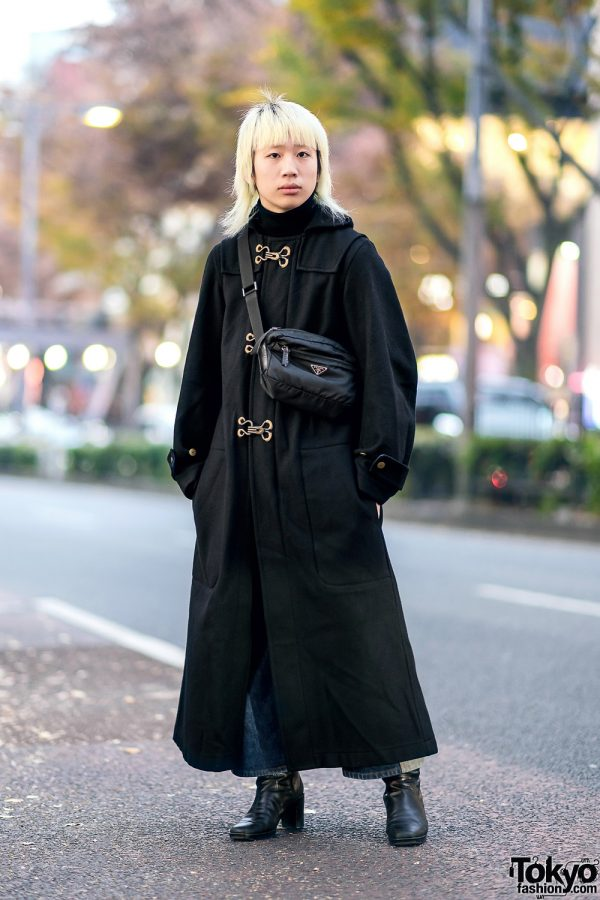 Tokyo Winter Street Style w/ Blonde Hair, Beauty:Beast Maxi Coat, Two-Tone Jeans, Heeled Boots & Prada Bag