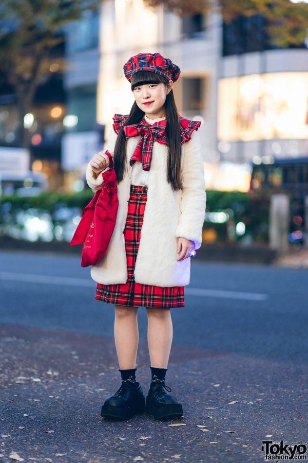 Harajuku Girl Street Style w/ Plaid HEIHEI Beret, Plaid Bow Collar, Plaid Skirt, Faux Fur Jacket & Maison De Fleur Bag
