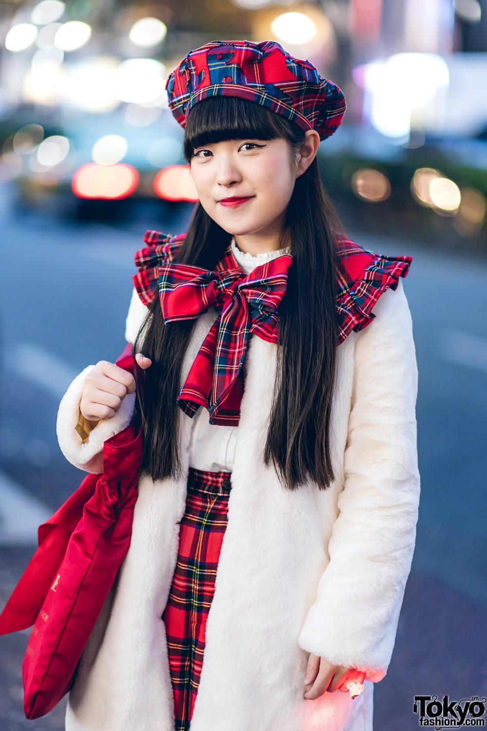 Harajuku Girl Street Style w/ Plaid HEIHEI Beret, Plaid Bow Collar, Plaid Skirt, Faux Fur Jacket & Maison De Fleur Bag