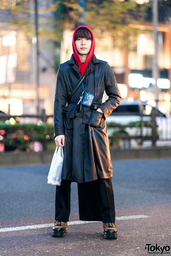 Harajuku Remake Street Style w/ Belted Coat, Red Hoodie, Back Skirt Panel, Pokemon Neck Wallet & Yosuke Leopard Print Shoes