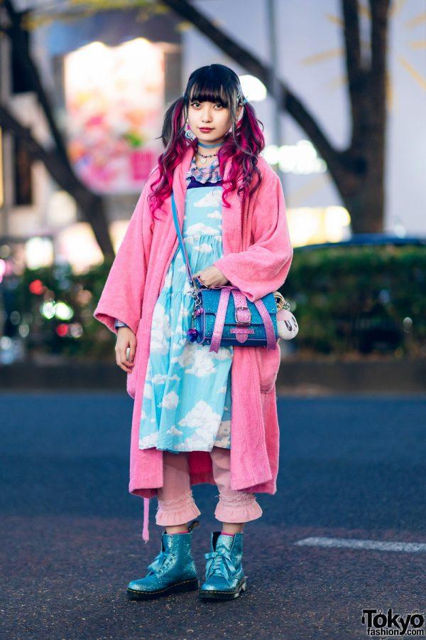 Harajuku Kawaii Street Style w/ Twin Tails, Yves Saint Laurent Robe, Cloud Print Dress, Teenstyle, Glem, Candy Stripper Bow Bag & Dr. Martens Glitter Boots