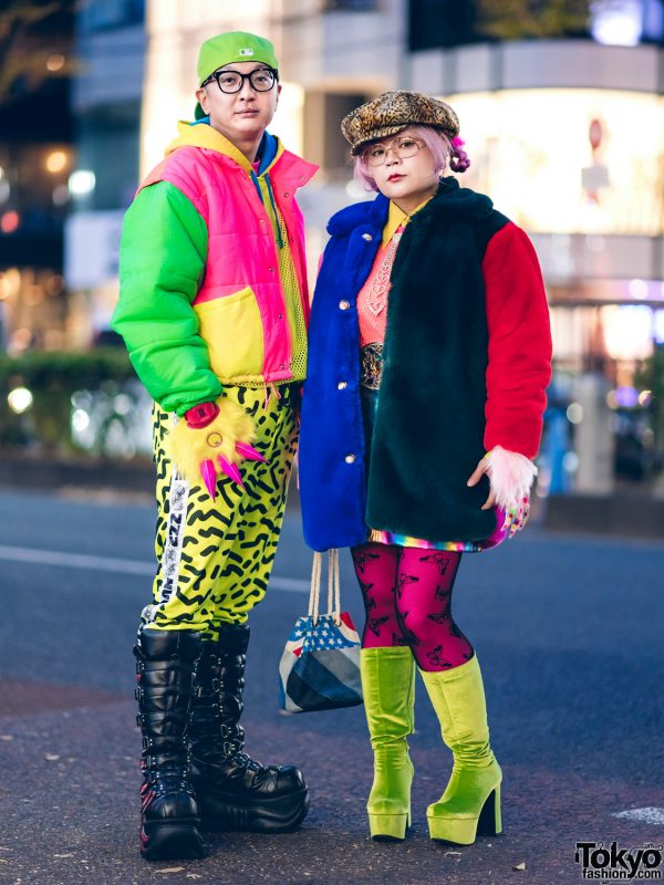 Colorful Japanese Duo Street Styles w/ Kinji Neon Jacket, Kobinai Furry Coat, Fila, Nuezzz, Office Kiko & Demonia Boots