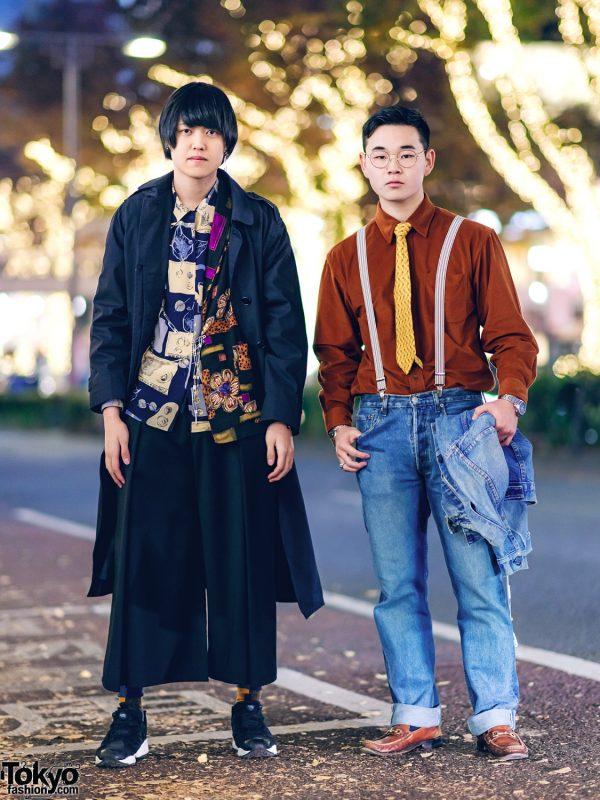Tokyo Mens Layered Street Styles w/ Trench Coat, Wide Leg Pants, Denim Jacket, Suspenders, Leather Loafers & Reebok Insta Pump Sneakers