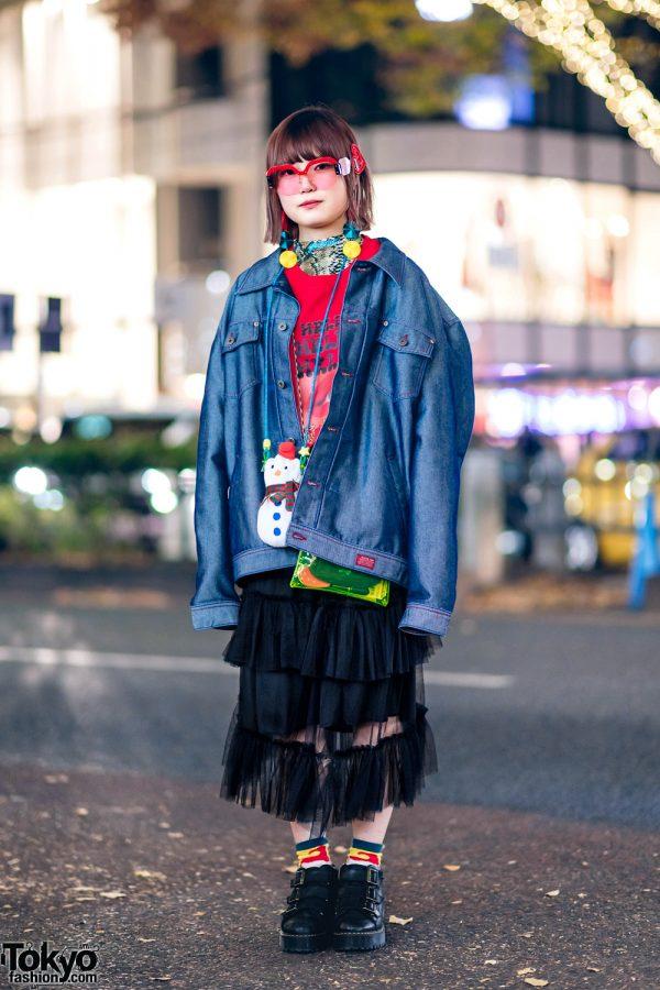 Harajuku Streetwear Style w/ Pinnap Oversized Denim Jacket, Kobinai Sheer Skirt, Dolls Kill Glasses, Kaldi Snowman Pouch & Dr. Martens