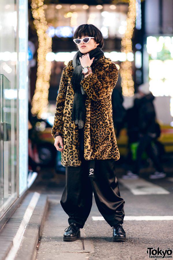 Harajuku Street Style w/ Blunt Bob, Zara TRF Leopard Coat, Uniqlo, Hare Parachute Pants, Whoop-De-Doo & Saad