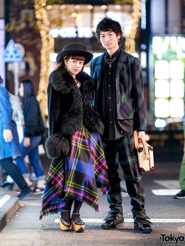 Vivienne Westwood Streetwear by Harajuku Duo w/ Handkerchief Skirt, Furry Coat, Plaid Suit, Punk Pants, Suitcase Bag, Rocking Horse Shoes & Flap Boots