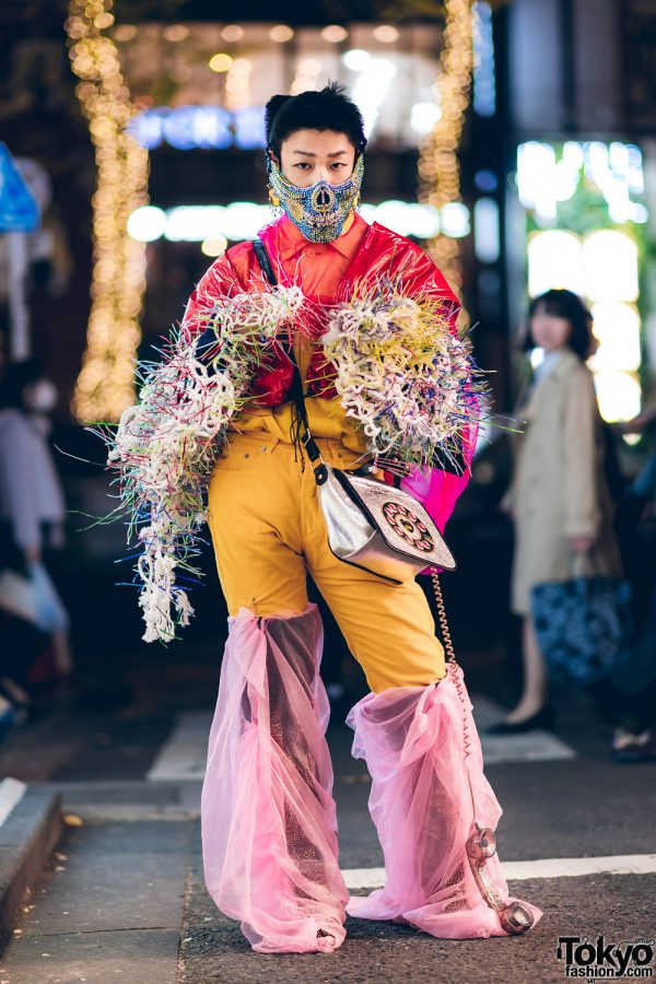 Japanese Handmade Avant-Garde Streetwear w/ Jeweled Mask, Vinyl Jacket Sleeves, Fuzzy Spiked Arm Warmers, Corduroy Pants, Fabric Wrapped Knee Boots & Prega Telephone Bag