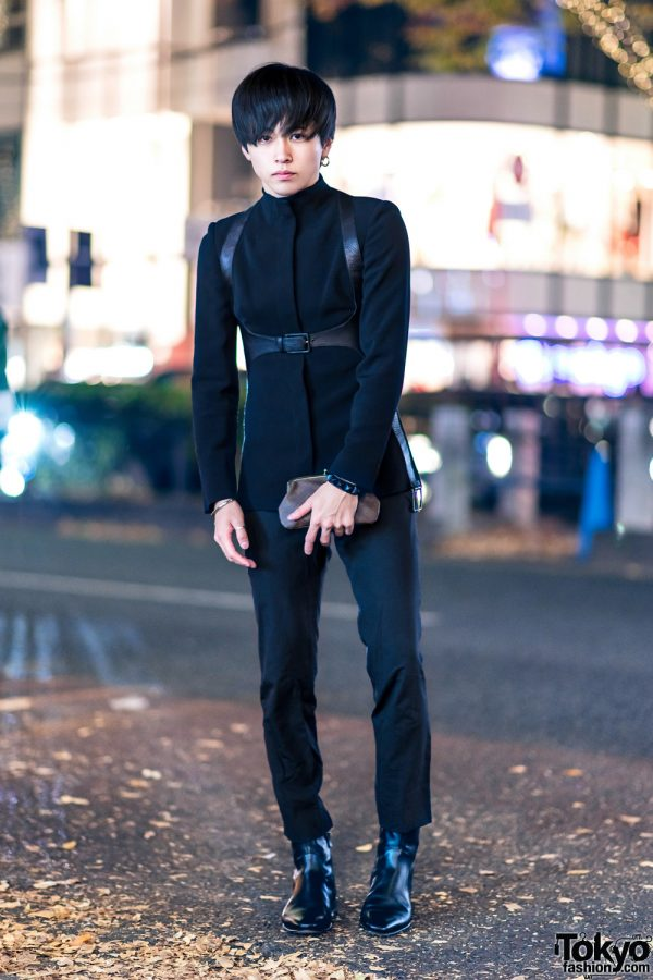 Japanese Actor Tsukasa in Harajuku w/ Alexander McQueen Harness Blazer, Julius, Gucci Pointy Boots, Christian Dada, Commuse & Louis Vuitton Clutch