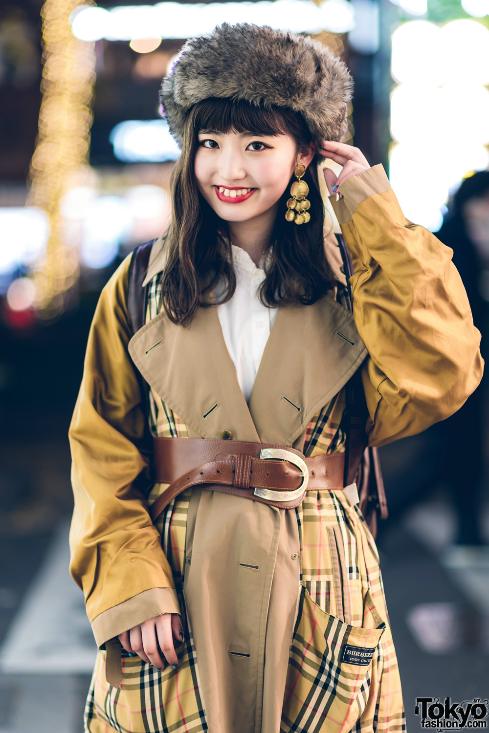 Harajuku Girl in Retro Style w/ Furry Hat, RRR Vintage Burberry Plaid Coat, Leather Backpack, MICMO & Shimokita Market