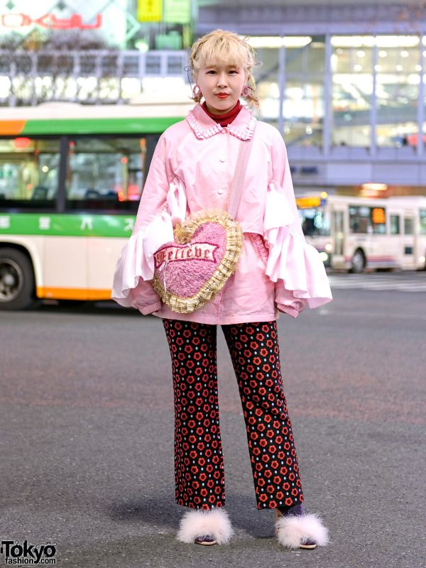 Shibuya Streetwear Style w/ Braided Updo, Microwave Ruffle Sleeve Jacket, Skirt Over Floral Print Pants, Thibaut Fuzzy Heels & LHP Heart Bag