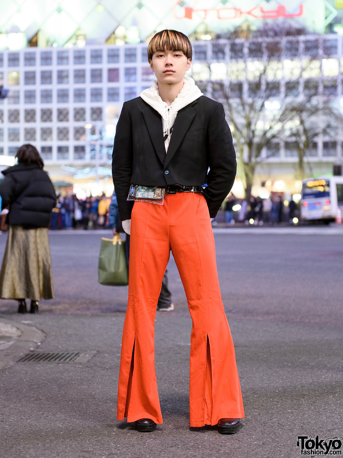 Tokyo Menswear Street Style w/ Blunt Bob, Cropped Blazer, Faith Tokyo Hoodie, Forever21 Flared Pants & Zara Shoes