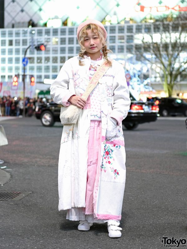 Vintage Pastel Street Style in Shibuya w/ Long Quilted Coat, Knit Sweater, Ruffle Dress, Velcro Sneakers & Sling Bag