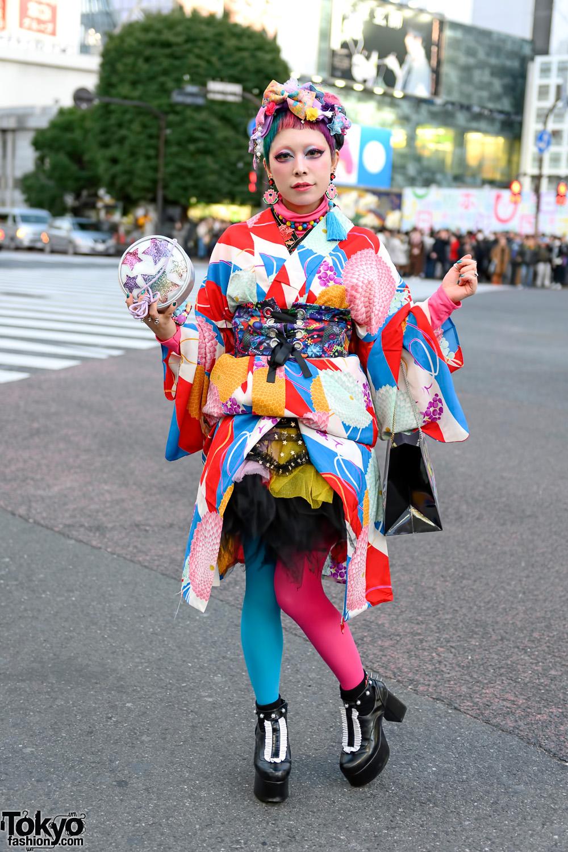 Kawaii Japanese Kimono Style w/ Rainbow Pixie Hair, FuriFu Kimono, 6%DOKIDOKI, Hoyajuku & Disturbia Clothing Platforms
