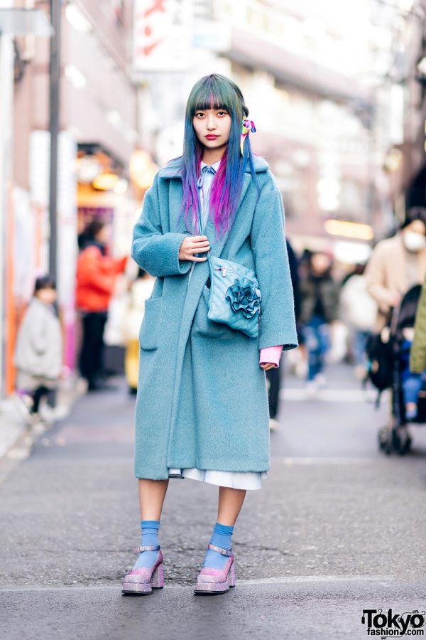 Colorful Hair Harajuku Street Style w/ Merry Jenny Coat, Teenstyle Select, Office Kiko & Vintage Fashion
