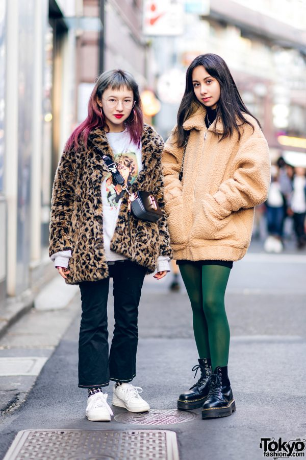 Harajuku Girls on the Street w/ H&M Leopard Coat, IAmGia Shearling Jacket, Fucking Awesome Sweater, Marc Jacobs, Brandy Melville, Nike & Dr. Martens