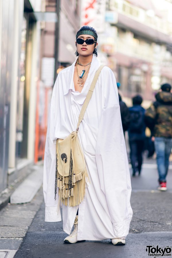 Avant-Garde Harajuku Street Style w/ Vaquera Oversized Shirt, Dover Street Market Necklace & Onitsuka Tiger Sneakers