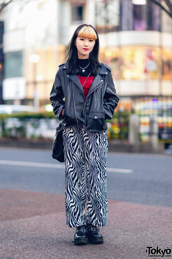 Tokyo Streetwear Style w/ Two-Tone Hair, Mixxmix Motorcycle Jacket, Beep Zebra Pants, Bubbles, ME Harajuku, Spinns & Pameo Pose