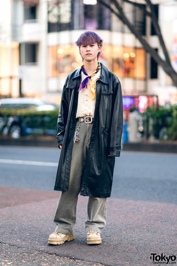 Harajuku Street Style w/ Purple Hair, Vaquera Neckerchief, Leather Trench Coat, Vejas Braided Shirt & New Rock Shoes