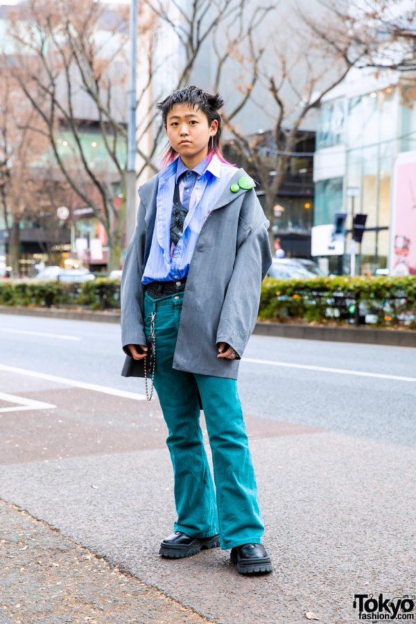 Harajuku Street Style w/ Pink-Tipped Hair, Layered Remake Shirts, Layered Denim Pants, Studded Waist Bag, Eytys, Never Mind the XU & BlackMeans Knuckle Duster