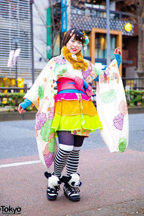 Harajuku Kawaii Kimono Street Style w/ Floral Kimono, Handmade Rainbow Skirt, Adidas Panda Bear Sneakers, Decora Hair Clips, Glitter Makeup & Bear Muffler
