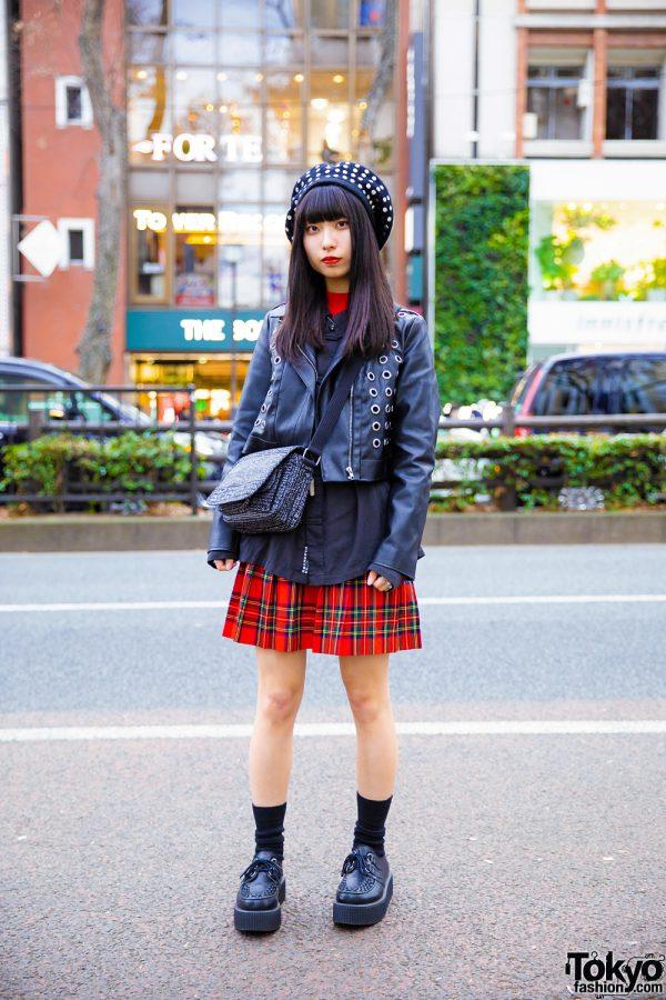 Japanese Pop Idol Ruri Otawa in Harajuku w/ John Callanan Legacy Hat, RNA, Forever21, Plaid Skirt, Vivienne Westwood, The British Museum Bag & Yosuke Creepers