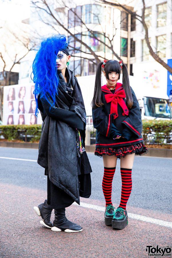 Harajuku Street Styles Blue Hair vs. Goth Fashion w/ Rick Owens, Rowan, To Alice, GLP, Limi Feu, Hangry&Angry, Hellcat Punks & Yosuke