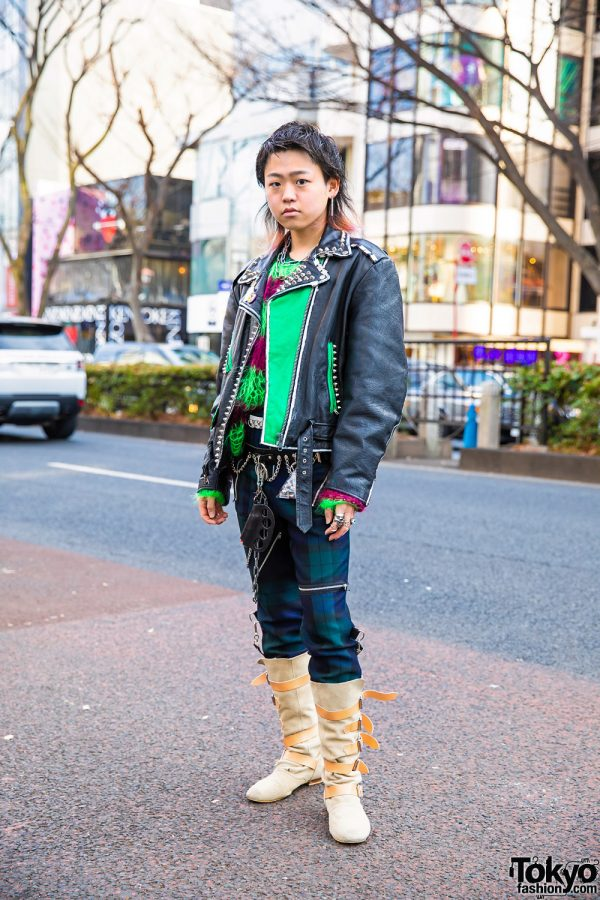 Harajuku Remake & Handmade Street Style w/ Motorcycle Jacket, Dog Harajuku Mohair Sweater, Punk Pants, Tokyo Human Experiments, Dilivee & Vivienne Westwood Boots