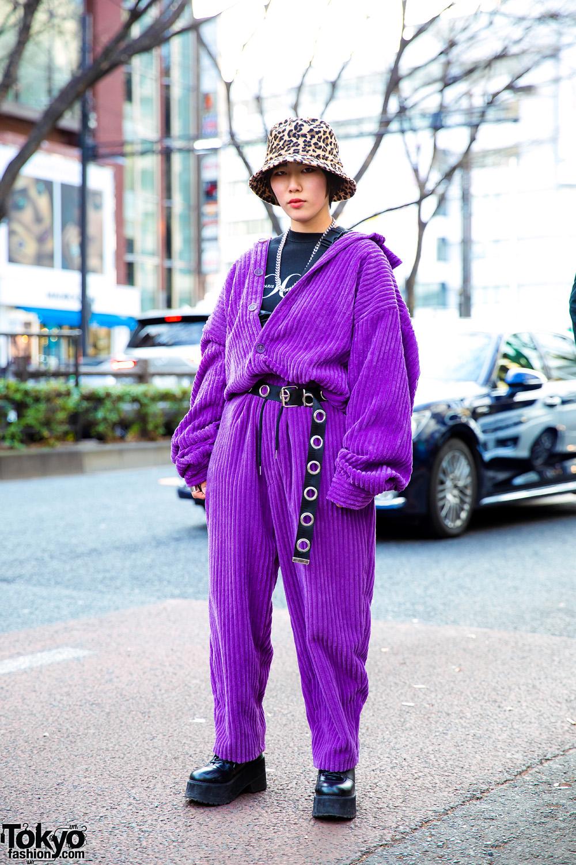 cc721457669 Purple Corduroy Jumpsuit   Leopard Print Hat Harajuku Street Style