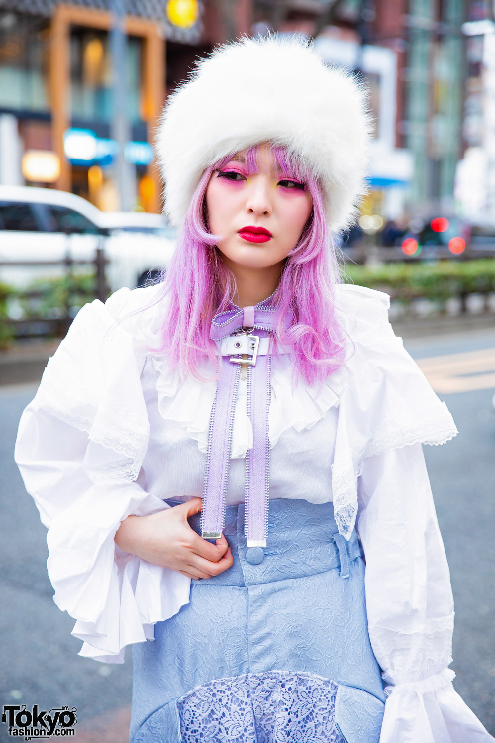 Pastel Harajuku Street Style w/ Pink Hair, Faux Fur Hat, Swankiss, Kaoru Zhou, Ayymatsuura Lace Pants, Bow Necklace & Jeffrey Campbell