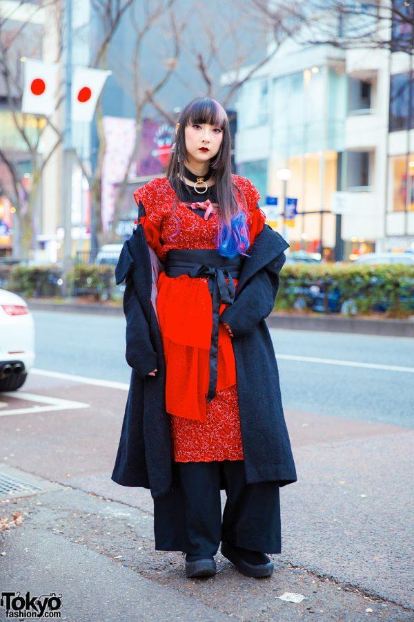 YouTuber RinRin Doll in Harajuku w/ Hisui Hooded Coat, Siiilon Lace Dress, Obi Belt, Anna Sui Wide Pants, Jubilee Heart Earrings, Devilish & Tokyo Bopper Bow Shoes