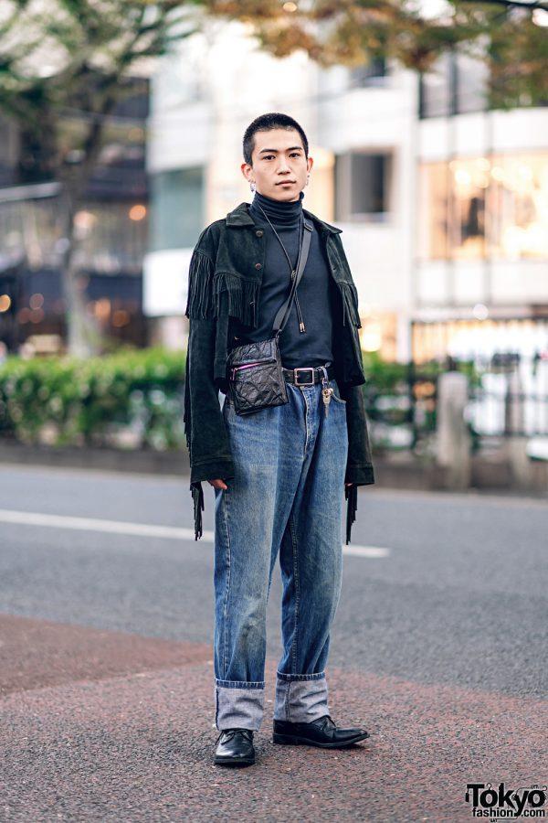 Casual Streetwear Style in Harajuku w/ Fringe Jacket, Ralph Lauren Cuffed Jeans, Zara Crossbody Bag & Hare Lariat Necklace