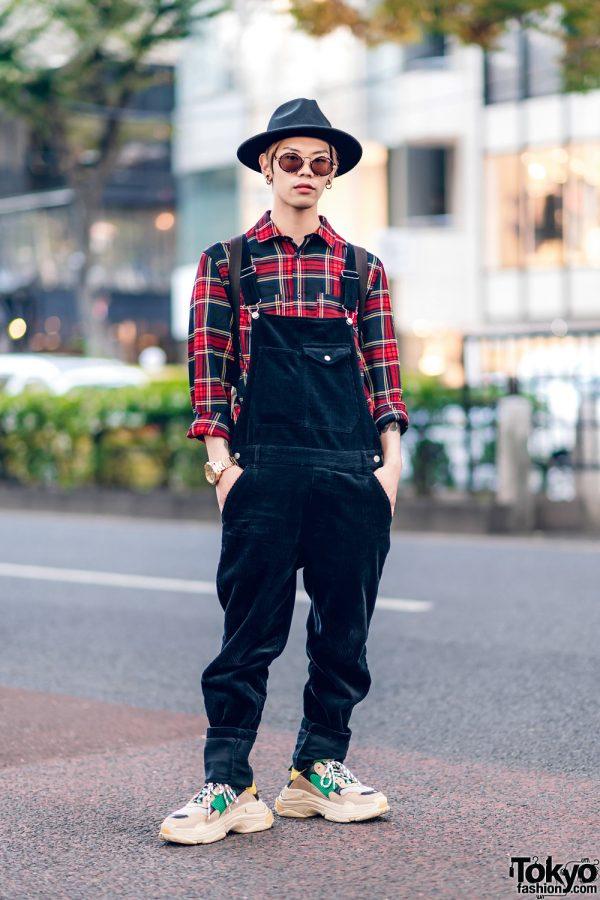 Harajuku Street Style w/ Black Hat, Corduroy Overalls, Plaid Shirt, Balenciaga Triple S Sneakers & Gucci Backpack