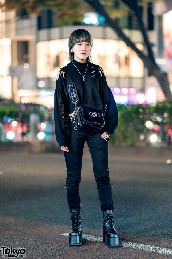 All Black Tokyo Street Style w/ One Spo Cutout Sweater, Tripp NYC, DYOG, Nadia, Never Mind the XU, Vivienne Westwood & Demonia Platform Boots
