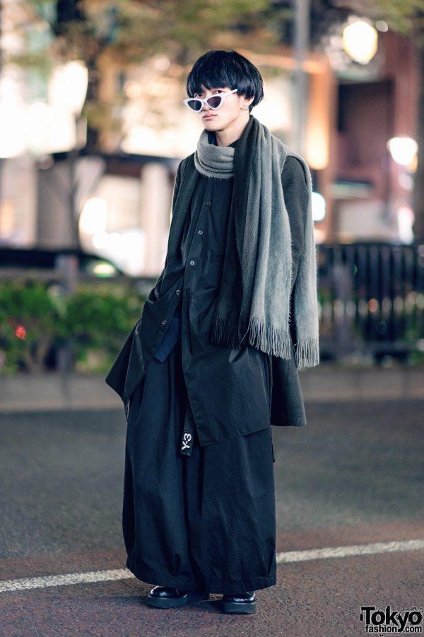 Modern Minimalist Street Fashion in Harajuku w/ SAAD Pointy Glasses, Azul By Moussy, Y-3, Notch, Whoop-De-Doo & Fringed Scarf