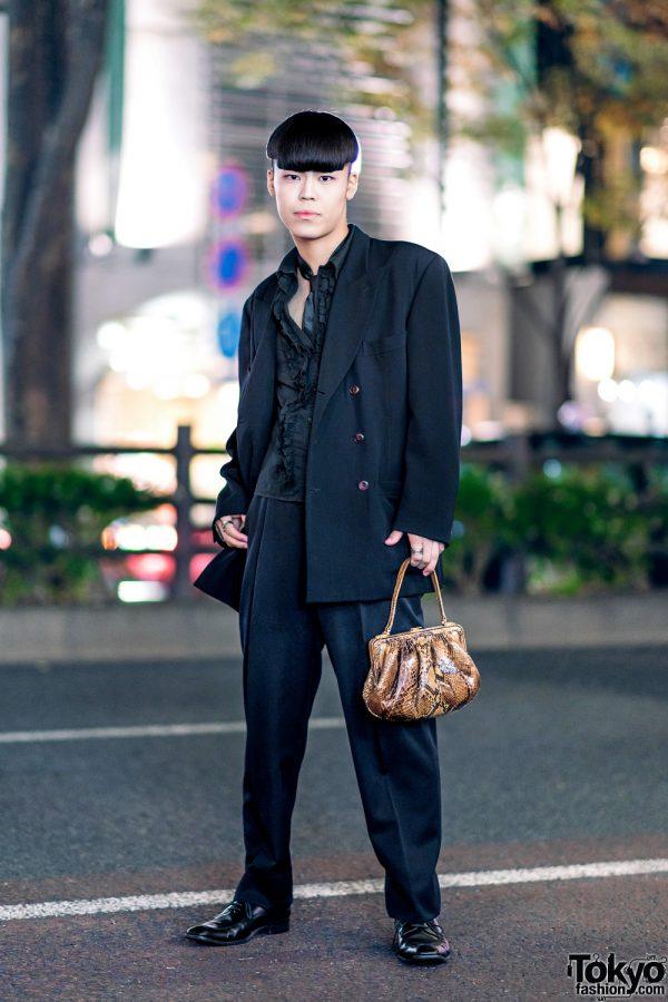 All Black Harajuku Menswear Style w/ Jean Paul Gaultier Suit Jacket, Ruffle Shirt, Silk Tie & Snakeskin Purse