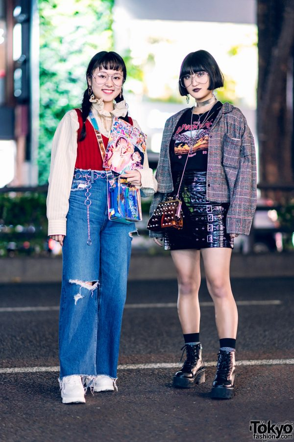 Japanese Girls Street Fashion w/ Aviator Glasses, Fashion Magazine, Vintage Ruffle Collar, Forever21 Plaid Jacket, Ripped Jeans & WEGO Footwear