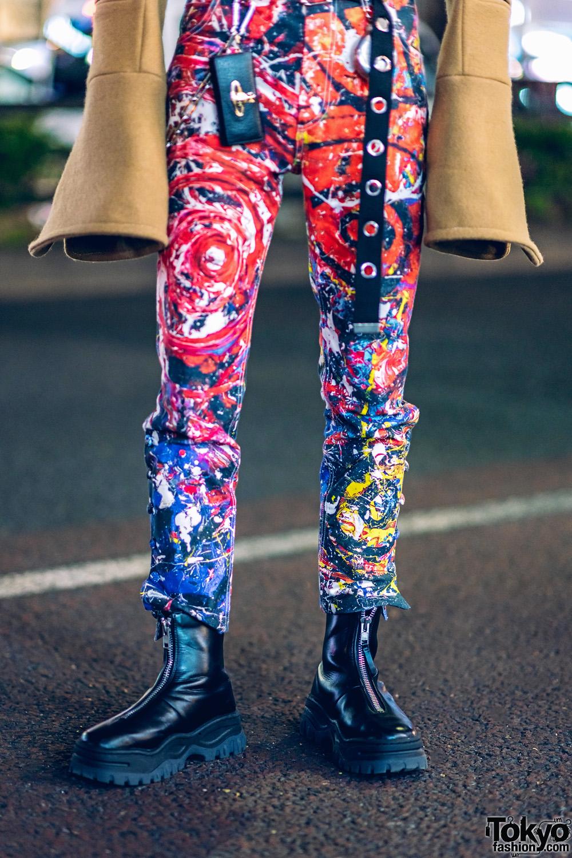 Charles Jeffrey Tokyo Streetwear Style W Painted Pants