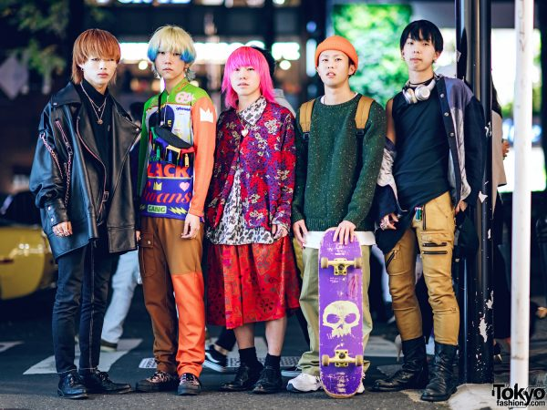 Tokyo Style Tribe w/ Pink Hair, MISBHV Leather Jacket, W&LT Sweatshirt, Saint Laurent Skirt, Carhartt Backpack & BlackMeans Pleather Pants
