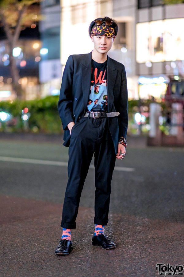 Tokyo Menswear w/ Double-Breasted Blazer, NWA Straight Outta Compton Shirt, Flame Print Headscarf & Allen Edmonds Shoes