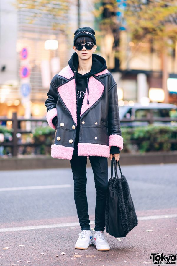 """Harajuku Street Style w/ """"Ain't Laurent Without Yves"""" Beanie, H&M x Kenzo Shearling Jacket, H&M x Erdem, Helmut Lang, Comme des Garcons & Nike Sneakers"""