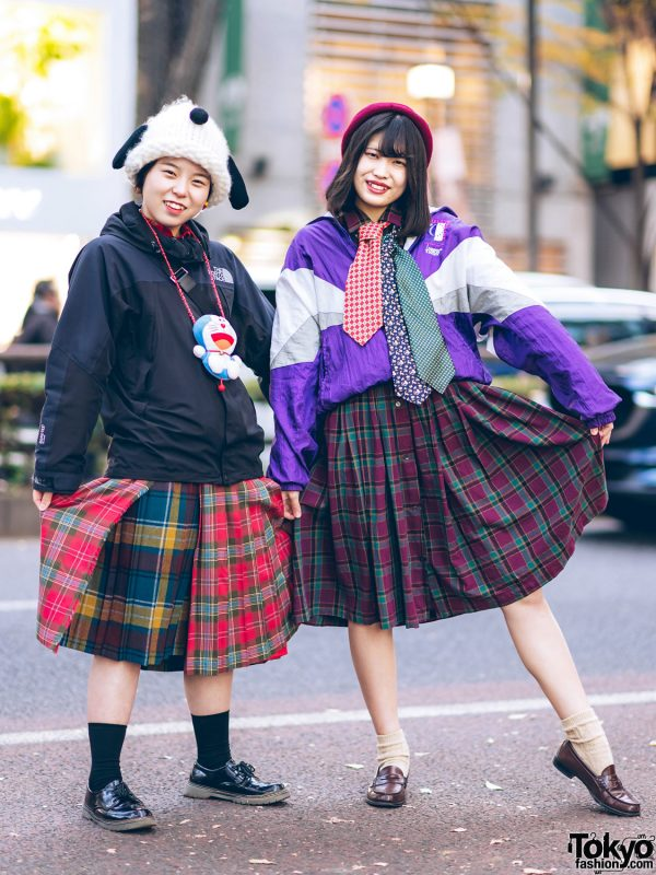 Harajuku Girls' Plaid Styles w/ Snoopy Hat, Doraemon Case, The North Face Jacket, Neckties & Coach Crossbody Bag