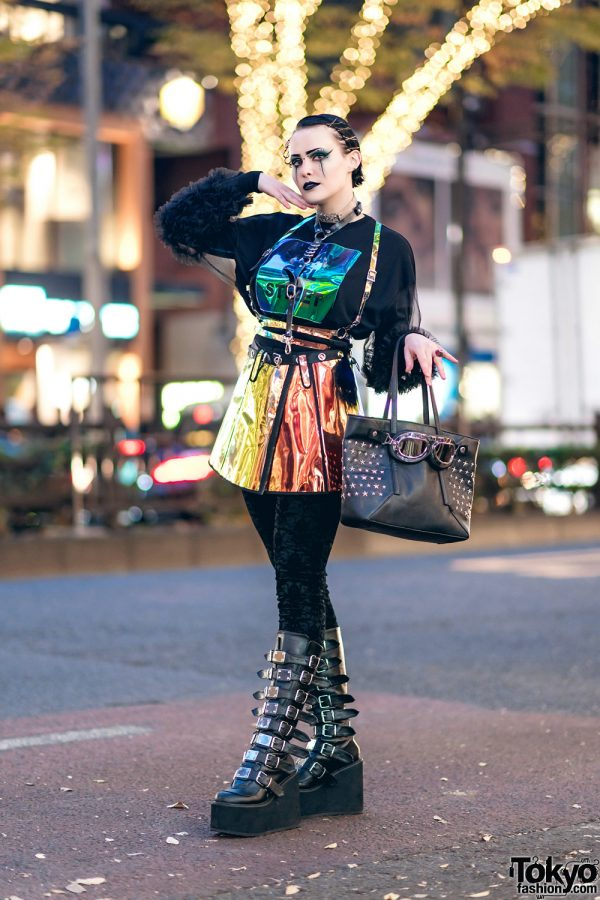 Harajuku Goth Girl Street Style w/ Holographic Romper, Multi-Strap Boots, Leather Harness, Stray Girl Street, Club Exx, Demonia & Listen Flavor