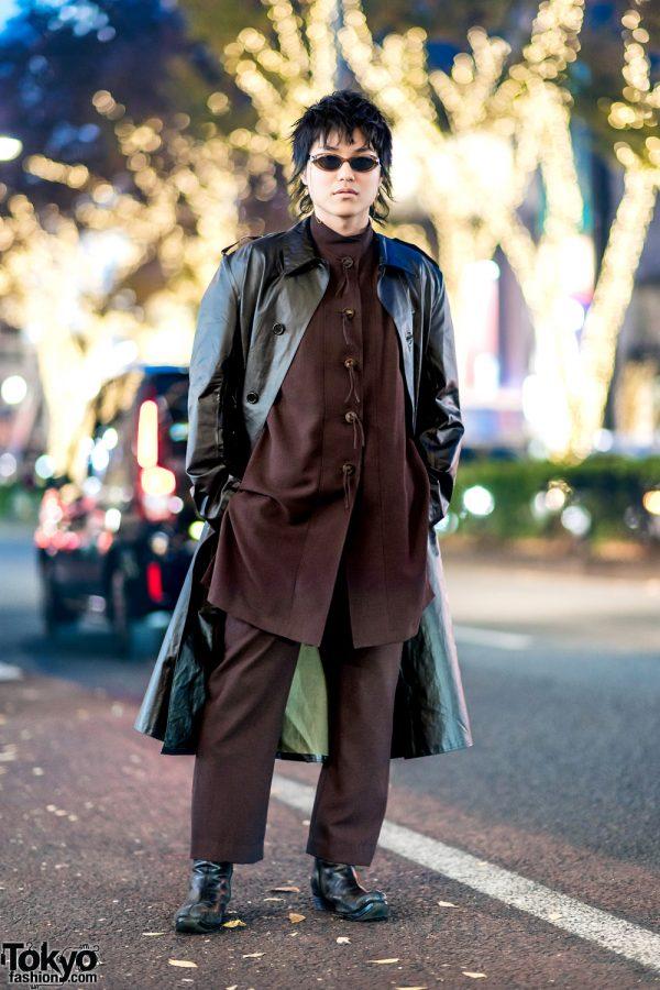 Tokyo Streetwear Style w/ Black Leather Coat & Brown Suit