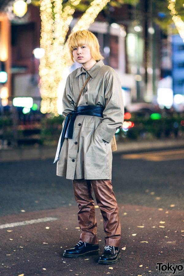 Harajuku Street Style w/ Blond Hair, Belted Coat, Calvin Klein, Dr. Martens, & Donna Karan