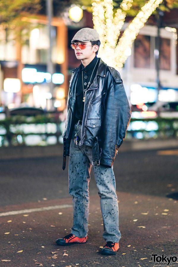 Harajuku Teen Street Style w/ Newsboy Cap, Motorcycle Jacket, Levi's Printed Jeans & Diesel Sneakers