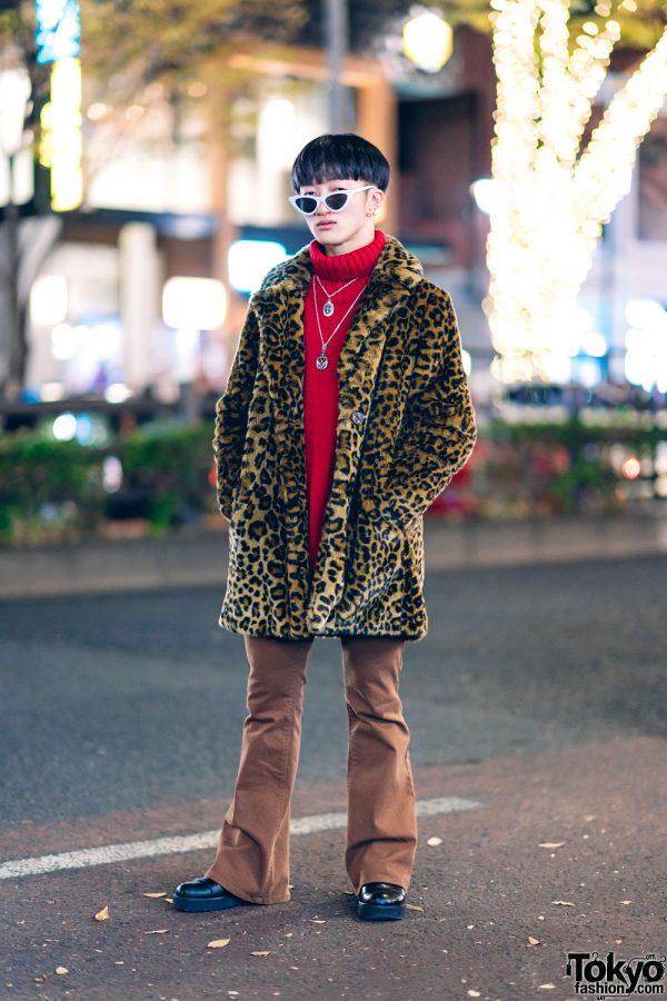 Leopard Print Coat & Red Turtleneck Street Style in Harajuku w/ Zara TRF, Murua, Whoop-De-Doo, Saad & Vintage Fashion