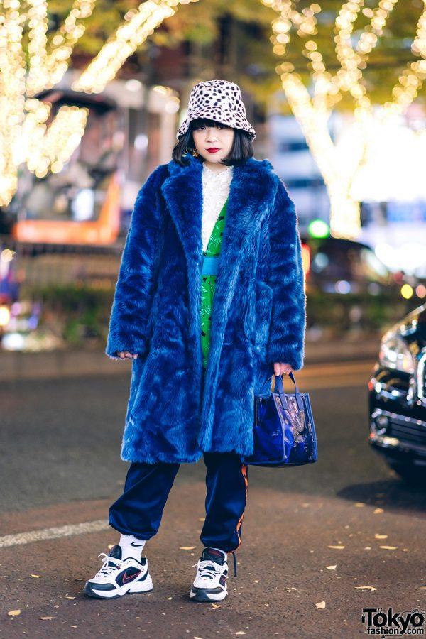 Tokyo Faux Fur Coat Street Style w/ Leopard Hat, Jouetie Maxi Coat, Embroidered Tunic, Kappa, Nike & Kenzo Tote