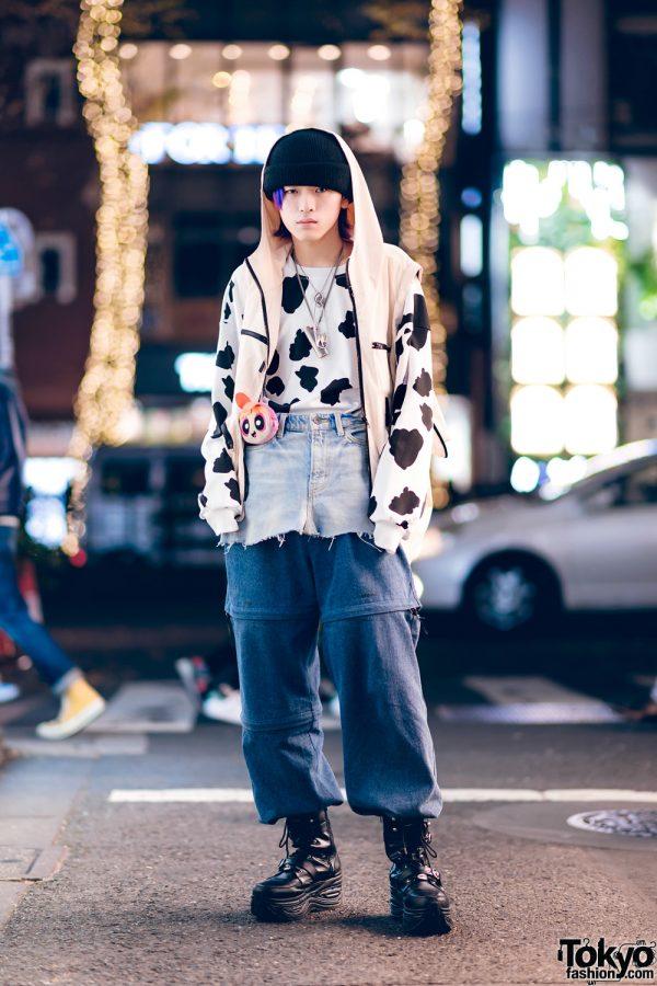 Cow Print & Layered Denim Streetwear Style w/ ESC Studio, Yosuke, Ambush & Vintage Fashion