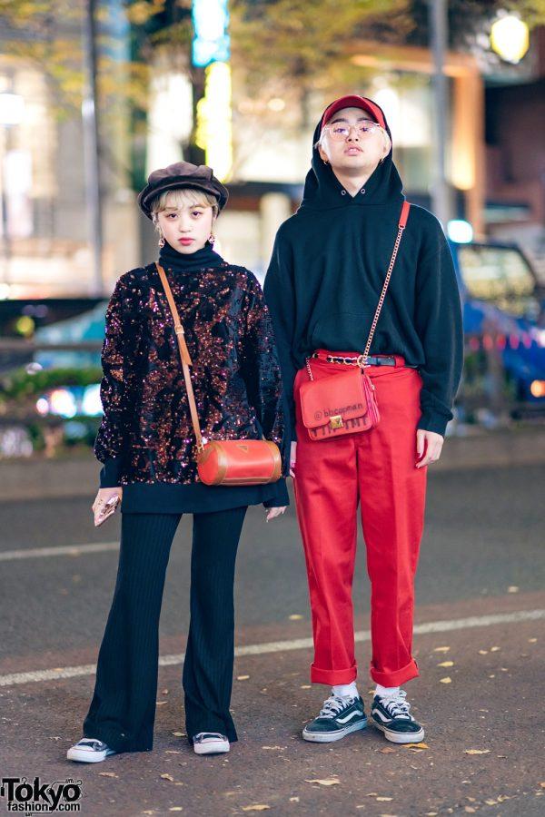 Tokyo Street Fashion w/ Zara Sequin Sweater, Forever21, Guess Barrel Bag, Converse, Wombat, Dickies & Vans