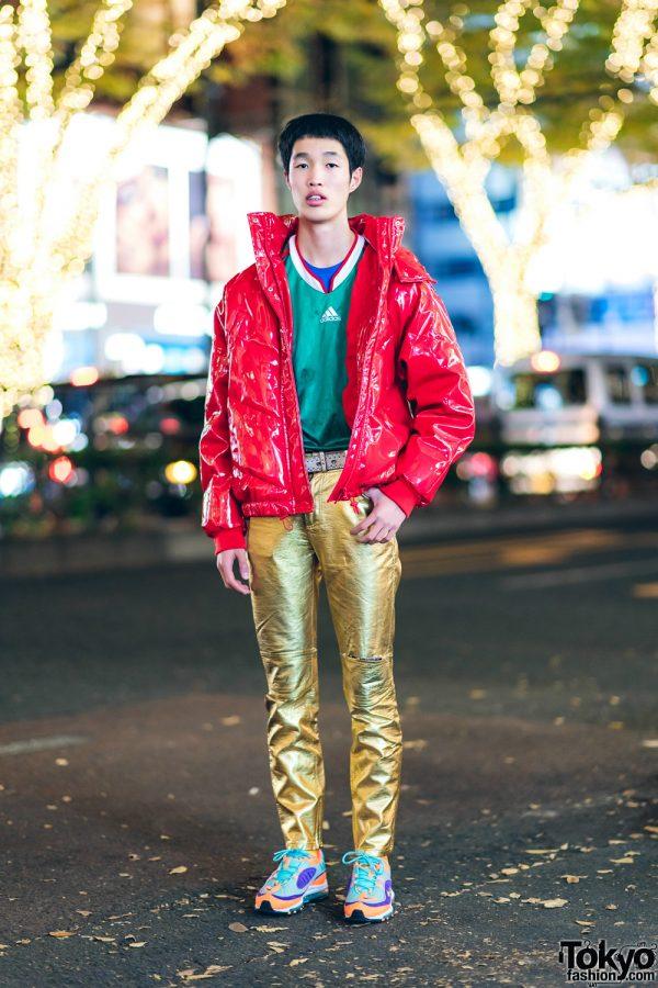 Tokyo Streetwear Style w/ Red Vinyl Jacket & Vintage Gold Pants